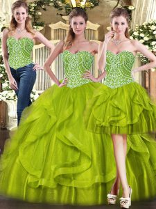 Dynamic Floor Length Olive Green Quinceanera Dress Organza Sleeveless Beading and Ruffles
