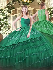 New Arrival Dark Green Zipper Straps Embroidery and Ruffled Layers Sweet 16 Dresses Organza and Taffeta Sleeveless