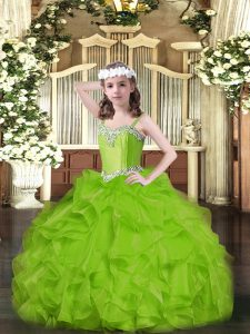 Sleeveless Floor Length Beading and Ruffles Lace Up Pageant Dress for Womens