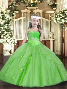 Beading and Ruffles and Sequins Pageant Dress Toddler Lace Up Sleeveless Floor Length