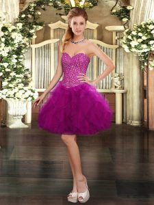 Custom Fit Beading and Ruffles Prom Dress Fuchsia Lace Up Sleeveless Mini Length