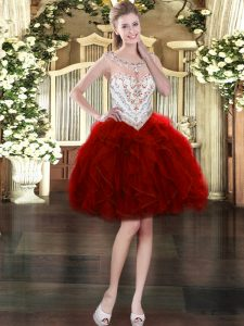 Fitting Wine Red Organza Zipper Prom Gown Sleeveless Mini Length Beading and Ruffles