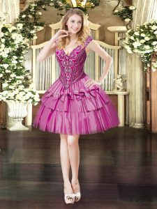 Mini Length Lace Up Evening Dress Fuchsia for Prom and Party with Beading