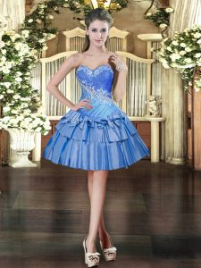Baby Blue Organza Lace Up Sweetheart Sleeveless Mini Length Prom Party Dress Beading and Ruffled Layers