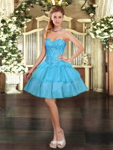 Graceful Sleeveless Lace Up Mini Length Beading and Ruffled Layers Homecoming Dress