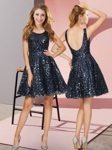 Navy Blue Sleeveless Mini Length Sequins Zipper Quinceanera Court Dresses