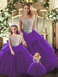 Admirable Sleeveless Floor Length Beading and Ruffles Lace Up Ball Gown Prom Dress with Purple