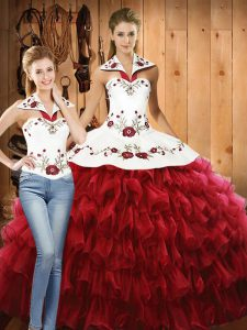 Smart Red Ball Gowns Halter Top Sleeveless Organza Floor Length Lace Up Embroidery and Ruffled Layers Quinceanera Dresses
