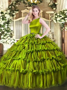 Custom Design Olive Green Ball Gowns Ruffled Layers Quinceanera Dress Clasp Handle Organza Sleeveless Floor Length