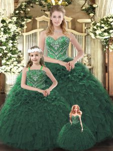 Amazing Organza Sweetheart Sleeveless Lace Up Ruffles Vestidos de Quinceanera in Dark Green