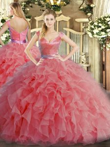 Watermelon Red Ball Gowns Ruffles Quince Ball Gowns Zipper Organza Sleeveless Floor Length