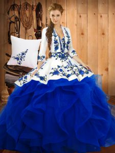 Noble Blue Ball Gowns Sweetheart Sleeveless Satin and Organza Floor Length Lace Up Embroidery Vestidos de Quinceanera