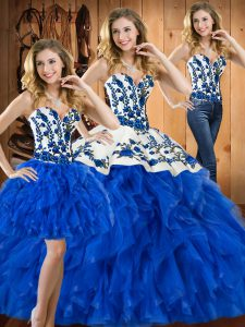 Fabulous Blue Three Pieces Sweetheart Sleeveless Satin and Organza Floor Length Lace Up Embroidery and Ruffles Quince Ball Gowns