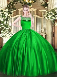 Exquisite Green Sleeveless Beading Floor Length 15 Quinceanera Dress