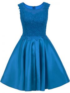 Affordable Blue A-line Satin Scoop Sleeveless Lace Mini Length Zipper Wedding Guest Dresses