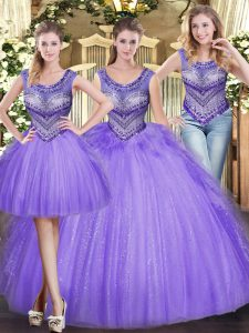 Fashionable Lavender Ball Gowns Scoop Sleeveless Tulle Floor Length Lace Up Beading and Ruffles Vestidos de Quinceanera
