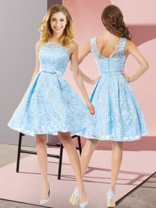 Top Selling Sleeveless Zipper Knee Length Bowknot Quinceanera Court of Honor Dress