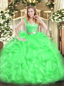 Edgy Green Ball Gowns Beading and Ruffles Quinceanera Gowns Zipper Tulle Sleeveless Floor Length