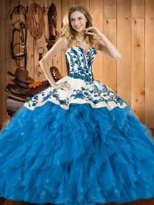 Teal Sweetheart Neckline Embroidery and Ruffles 15th Birthday Dress Sleeveless Lace Up
