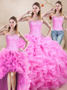 Rose Pink Ball Gowns Sweetheart Sleeveless Organza Floor Length Lace Up Beading and Ruffles Quinceanera Dresses