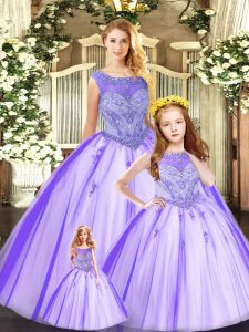 Discount Sleeveless Tulle Floor Length Lace Up 15th Birthday Dress in Eggplant Purple with Beading