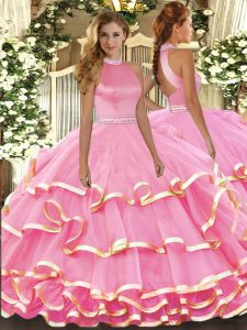 Floor Length Backless Quinceanera Gown Pink for Military Ball and Sweet 16 and Quinceanera with Beading and Ruffled Layers