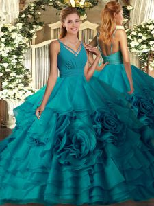V-neck Sleeveless 15th Birthday Dress Floor Length Ruffles Teal Fabric With Rolling Flowers