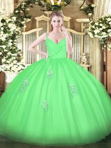 Great Sleeveless Tulle Floor Length Zipper Ball Gown Prom Dress in Green with Appliques