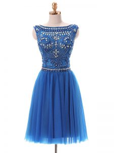 Custom Fit Blue Empire Tulle Bateau Sleeveless Beading Mini Length Zipper Evening Dress