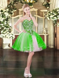 Beautiful Homecoming Dress Prom and Party with Beading Sweetheart Sleeveless Lace Up