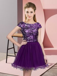 Cap Sleeves Tulle Mini Length Zipper Damas Dress in Dark Purple with Sequins
