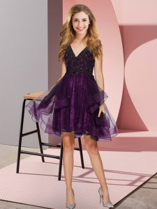 Ideal V-neck Sleeveless Quinceanera Court Dresses Mini Length Appliques and Ruffles Purple Tulle