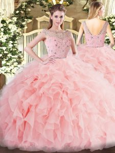 Admirable Sleeveless Beading and Ruffles Zipper Sweet 16 Dress