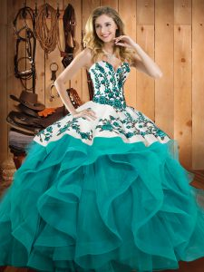 Floor Length Lace Up Sweet 16 Dresses Teal for Military Ball and Sweet 16 and Quinceanera with Embroidery and Ruffles