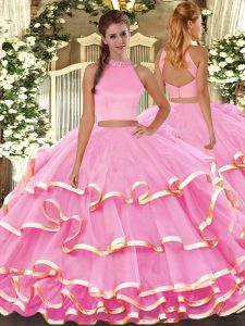 Colorful Halter Top Sleeveless 15 Quinceanera Dress Floor Length Beading and Ruffled Layers Rose Pink Organza
