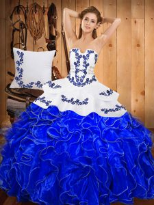 Suitable Blue And White Sleeveless Floor Length Embroidery and Ruffles Lace Up Sweet 16 Quinceanera Dress