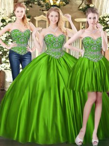 Beading Sweet 16 Dresses Green Lace Up Sleeveless Floor Length