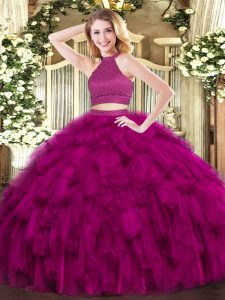 Halter Top Sleeveless Backless 15th Birthday Dress Fuchsia Organza