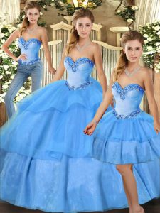 Fine Baby Blue Sleeveless Floor Length Beading and Ruffled Layers Lace Up Vestidos de Quinceanera