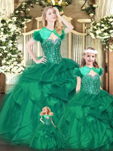 Glorious Sleeveless Organza Floor Length Lace Up Sweet 16 Dresses in Green with Beading and Ruffles