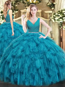 Simple Teal V-neck Neckline Beading and Ruffles Quinceanera Gown Sleeveless Zipper