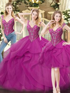 Glamorous Fuchsia Lace Up V-neck Beading and Ruffles Sweet 16 Quinceanera Dress Organza Sleeveless