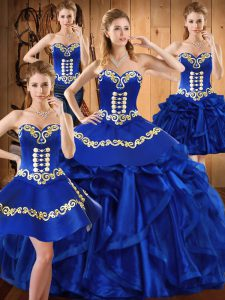 Exquisite Sweetheart Sleeveless Lace Up Quinceanera Dress Royal Blue Organza