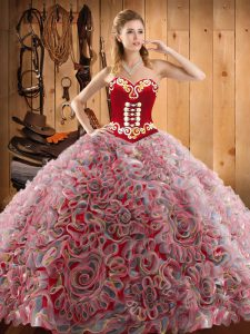 Sweetheart Sleeveless Sweet 16 Dresses With Train Sweep Train Embroidery Multi-color Satin and Fabric With Rolling Flowers
