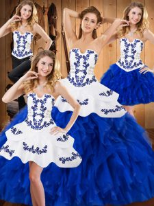 Luxury Floor Length Ball Gowns Sleeveless Blue And White 15th Birthday Dress Lace Up