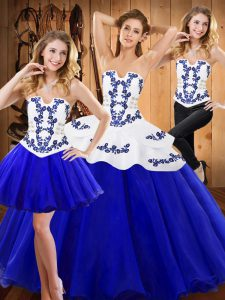 Gorgeous Royal Blue Ball Gowns Tulle Strapless Sleeveless Embroidery Floor Length Lace Up Sweet 16 Dresses