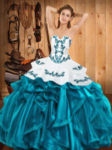 Exceptional Floor Length Teal Sweet 16 Dress Strapless Sleeveless Lace Up