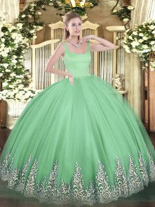 Fancy Apple Green Sleeveless Floor Length Appliques Zipper Ball Gown Prom Dress