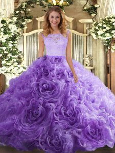 Lavender Sleeveless Fabric With Rolling Flowers Zipper 15th Birthday Dress for Sweet 16 and Quinceanera
