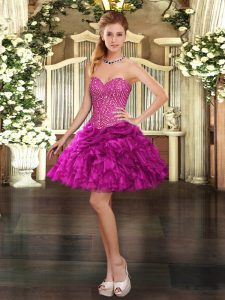 Fitting Fuchsia Lace Up Sweetheart Beading and Ruffles Prom Gown Organza Sleeveless